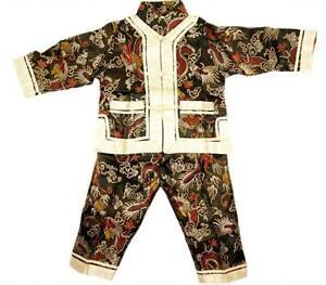 Chino-Japones-Oriental-Nino-Chico-simbolo-de-dragon-Top-Pantalon-Set-Pijama