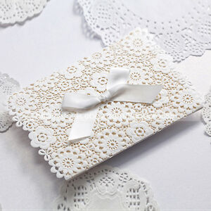 Laser Cut-out Floral Design Wedding Invitations Cards With Bow & Envelopes,Seals
