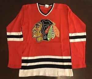 100% authentic 647df d4fbc Details about Rare Vintage 1970's New Era Knitting NHL Chicago Blackhawks  Hockey Jersey
