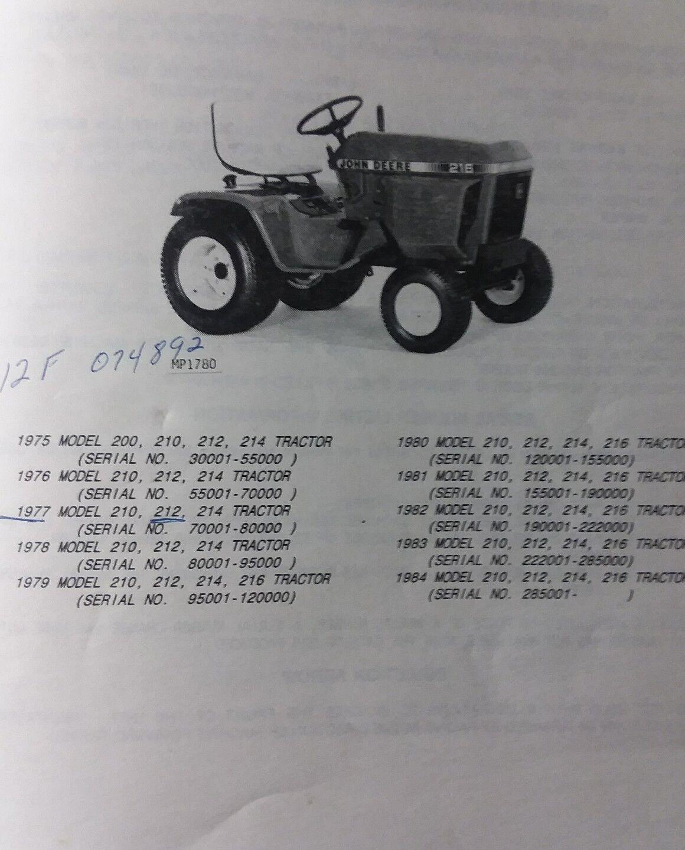 200 210 212 214 216 john deere lawn garden tractor parts catalog rh ebay com John Deere Ignition Switch Diagram John Deere 214 Belt Diagram