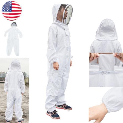 US Professional Large Full Body Beekeeping Bee Keeping Suit w//Veil Hood Coat XXL