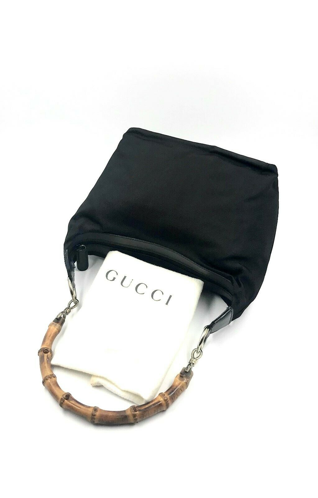 Vintage Authentic Gucci Bamboo Leather Trimmed Bl… - image 12