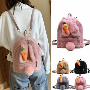 Small-Large-Faux-Fur-Rabbit-Ears-Carrot-Backpack-Rucksack-Fluffy-Bag-Purse-Gift