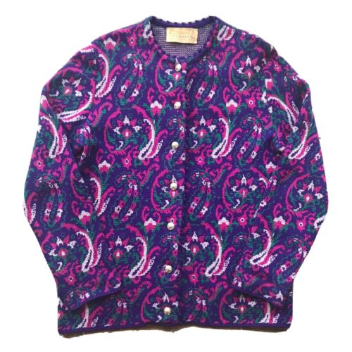 Catalina Jacquard Vintage Sz 38 Cardigan Knit Pink