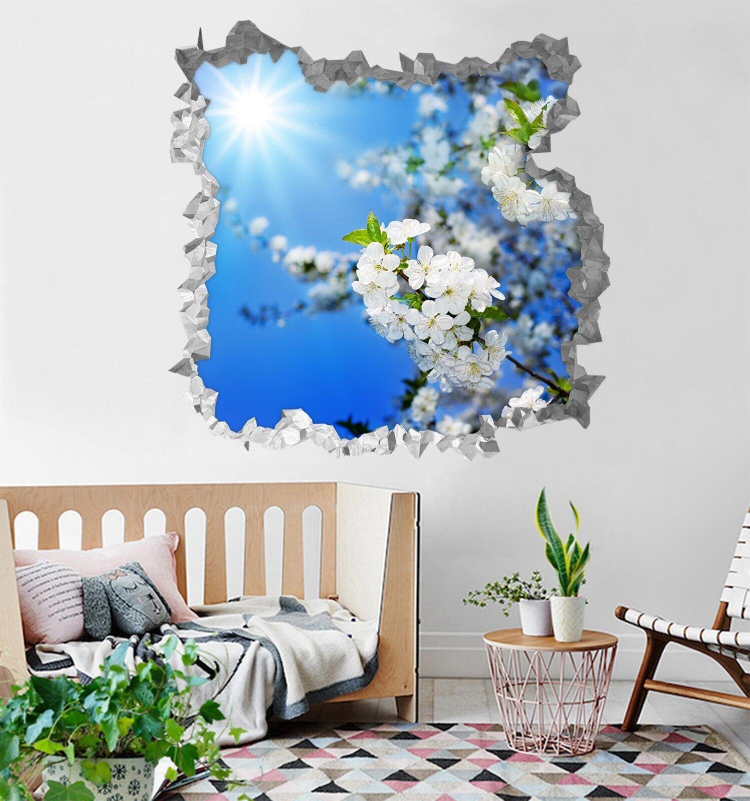 3D Weiße Blumen 162 Mauer Murals Mauer Aufklebe Decal Durchbruch AJ WALLPAPER DE