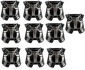 Lego-10-Stueck-schwarze-Brustpanzer-Aufdruck-in-silber-Ruestung-2587pb27-Neu
