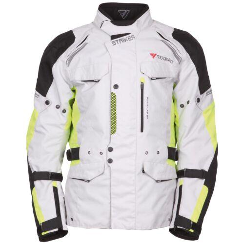 hellgrau neon gelb Modeka STRIKER Herren Touring Motorradjacke Textil