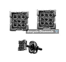 black diamond .05 carat 925 square gunmetal black screwback earrings unisex