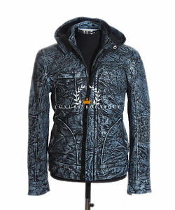 Ghost-Protocol-Mission-Impossible-Antique-Blue-Men-039-s-Hooded-Real-Leather-Jacket