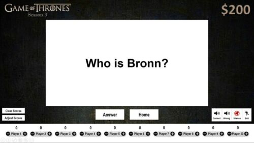Game of Thrones Season 3 Jeopardy Trivia PowerPoint Template Digital Download