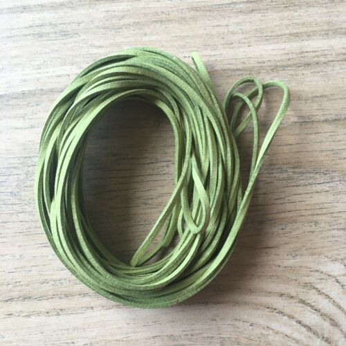 10m SPRING GREEN COLOUR FAUX MANMADE SUEDE//COLOUR THONG JEWELLERY MAKING CORD