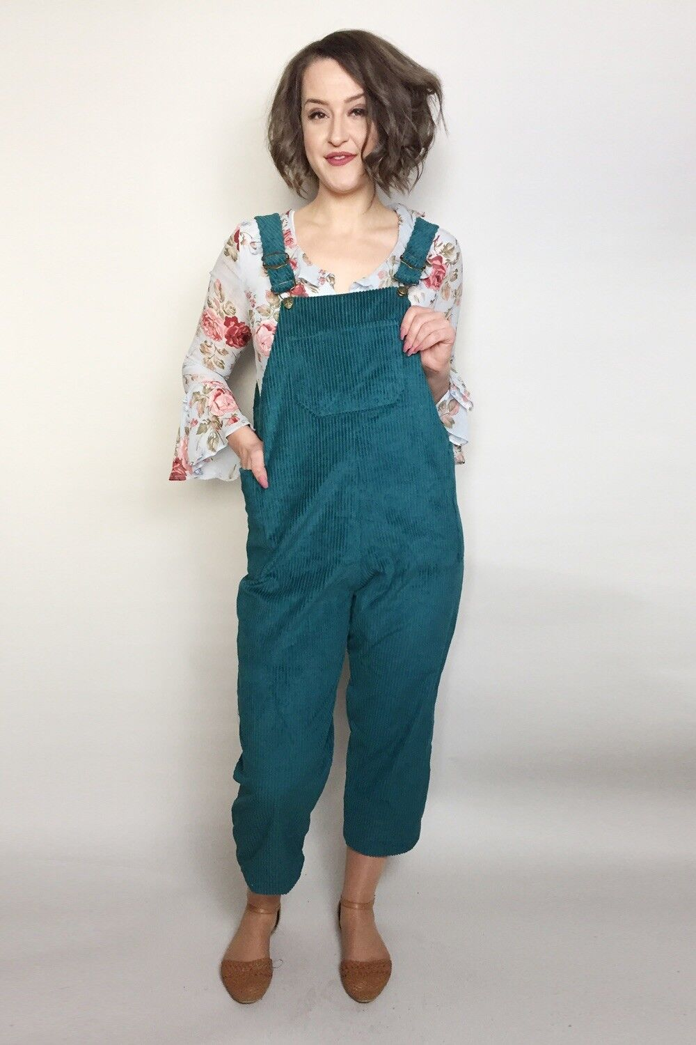 Handmade Forest Bottle Green  Corduroy  Relaxed Fit Dungarees
