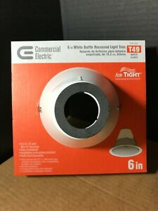 Commercial Electric 6 in White Baffle Recessed Light Trim AirTight T49