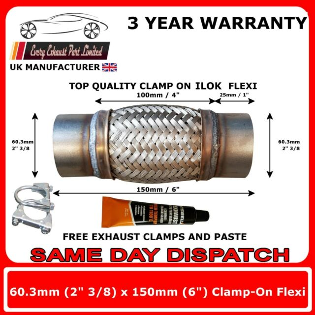 """2.75/"""" x 14/"""" 70mm x 350 Exhaust Flexipipe Decat Pipe Clamp-on Flexi Joint 2 3//4/"""""""
