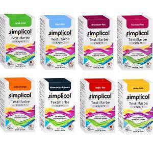 SIMPLICOL-Textilfarbe-EXPERT-150g-versch-Farben-amp-Fixierer-auch-fuer-Wolle-Seide