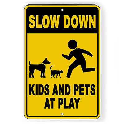 """CAUTION Please Drive Slowly Children Playing Aluminum Sign 9""""x12"""""""