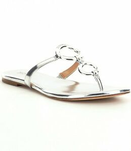 417f3b4fb Michael Kors Claudia Flat Silver Thong Leather Sandal Women sizes 6 ...