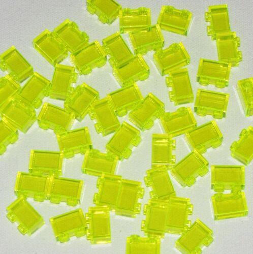 Lego Lote De 50 Novos 1 X 2 Dot tijolos Trans-Blocos De Neon Verde Transparente