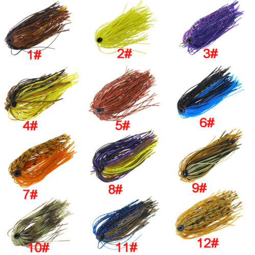 12//24pcs Silicone Jig Skirts Lures DIY For Rubber Fishing Bass Jig Fishing Lures
