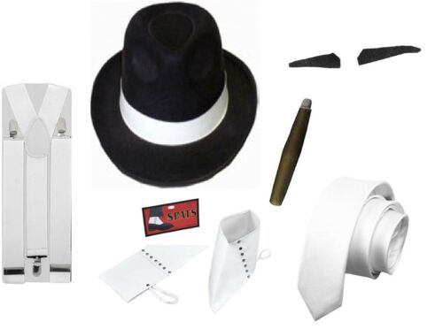 ADULT GANGSTER PIMP HAT BRACES SPATS SPIV TASH 1920/'S  FANCY DRESS COSTUME 6PC