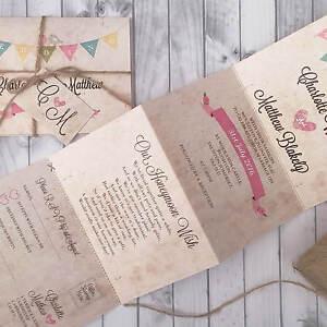 Personalised-Wedding-Invitations-amp-Evening-Invites-Bunting-Vintage-Handmade