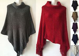 Women-Batwing-Style-Knit-Poncho-Cape-Coat-Knitwear-Sweater-Outwear-Jacket-487