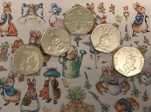 Peter-Rabbit-50p-pence-coins-set-of-FIVE-UNC-Beatrix-Potter-coins-Collector-gift