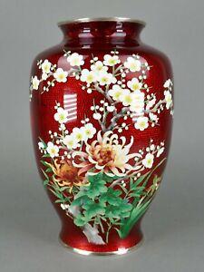 Fine-Old-Japanese-Cloisonne-Enamel-Big-Floral-Ikebana-Vase