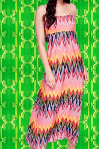295✪Hippie Kleid Maxi dress 70er Jahre Boho ZickZack Muster bunt Gr 40