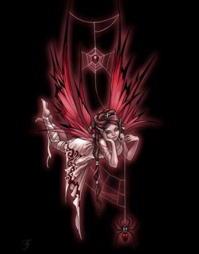 Women/'s magnifique t-shirt dark gothique fée à la toile d/'araignée rouge et noir avec Spider
