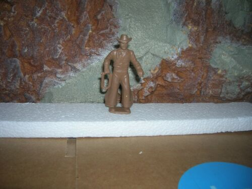 MARX 1950 COWBOY W// ROPE  60MM MX264 TOY SOLDIER PLAYSET RANCH BROWN
