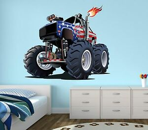 Fabulous Details About Monster Truck Wall Decal Boys Bedroom Art Decor Gravedigger Sticker Vinyl J130 Home Interior And Landscaping Ologienasavecom