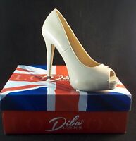Diba London Tenith Nude Peep Toe Platform Heels Size 7 1/2 Patent Look