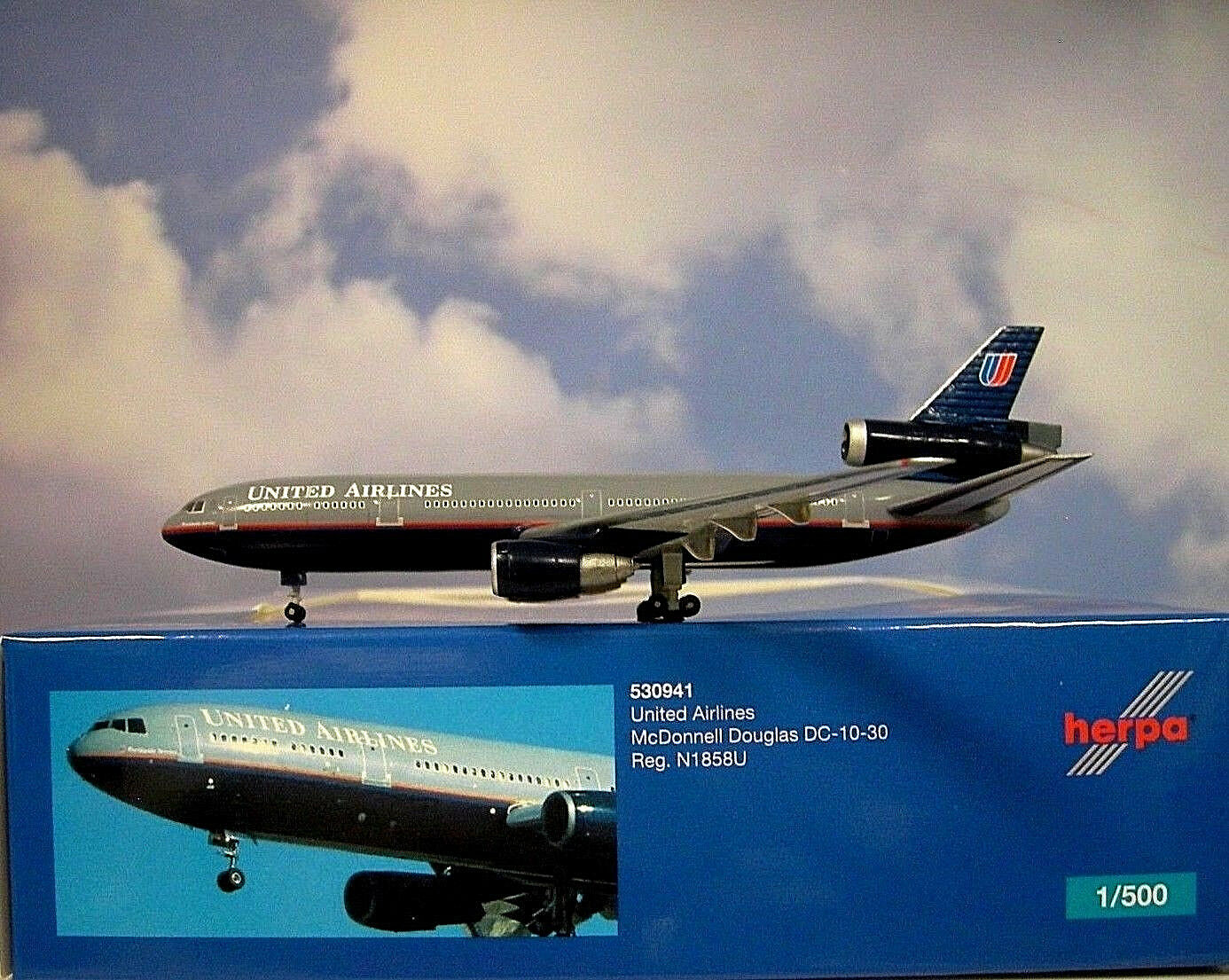 Herpa Wings 1 500 Mc Donnell Donnell Donnell Douglas DC-10-30 United 530941 Modellairport500 ccc684