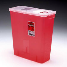 Sharps Disposable Biohazard Container, Red Base Hinged Lid, 3 Gal, 02-8527R