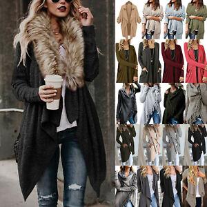Women-039-s-Lapel-Long-Sleeve-Cardigan-Waterfall-Trench-Duster-Outwear-Jacket-Coat