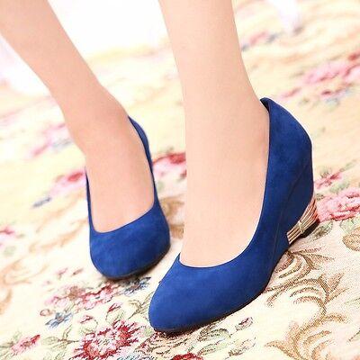 Womens Suede Round Toe Platform High Heels Wedges Work Shoes New!!!