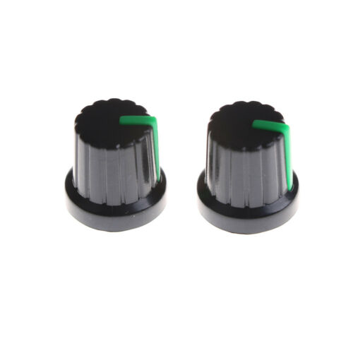 20pcs Green Indication 6mm Shaft Hole Knurled Grip Potentiometer Pot Knob Cap AE