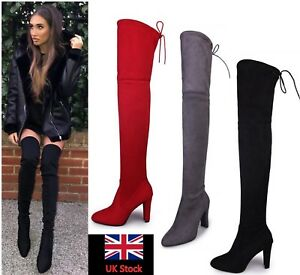 Womens-Thigh-High-Party-Boots-Over-The-Knee-Ladies-Stretchy-Block-Mid-Heel-Size