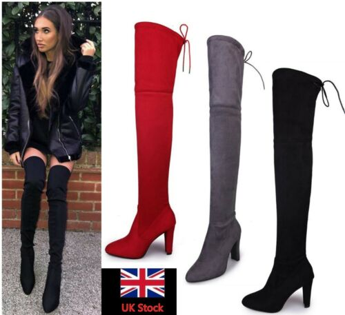 Womens Thigh High Party Boots Over The Knee Ladies Stretchy Block Mid Heel Size