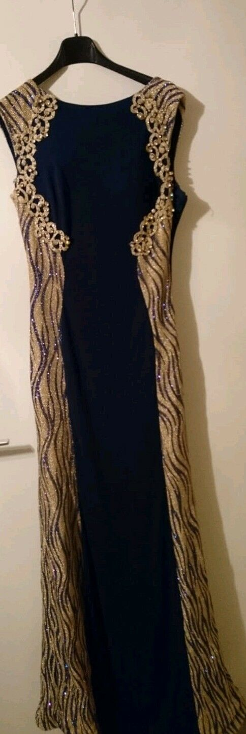 Gold Blaues Abendkleid lang mit Pailetten Größe 38 & 40 Abiye gece elbisesi