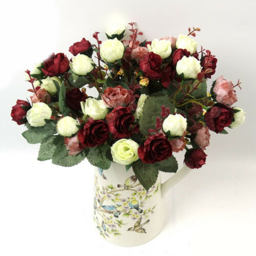 Silk Peony Artificial Flowers 32cm Fake Rose Bouquet Wedding /&Party /&Home Decor