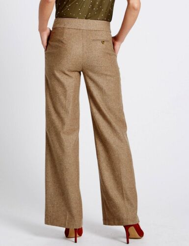 M/&S Collection Wool Blend Herringbone Brown Lined Trousers UK 18