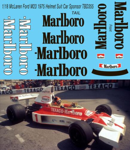 1//18 McLaren Ford M23 1975 CORRECT  DECALS SPONSOR HELMET SUIT Decal TBD355