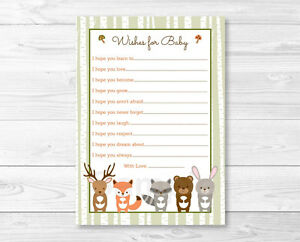 image is loading woodland forest animals printable baby shower wishes for