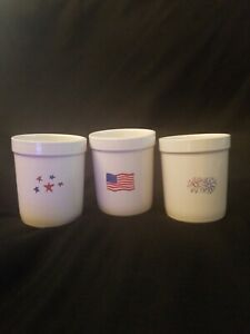 Rae-Dunn-Artisan-4th-Of-July-Flag-Fireworks-Utensil-Holders-Canisters-Pots-SET