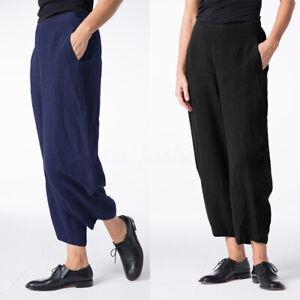 Mode-Femme-Pantalon-Caual-en-vrac-Loose-Coton-Taille-elastique-Jambe-Large-Plus