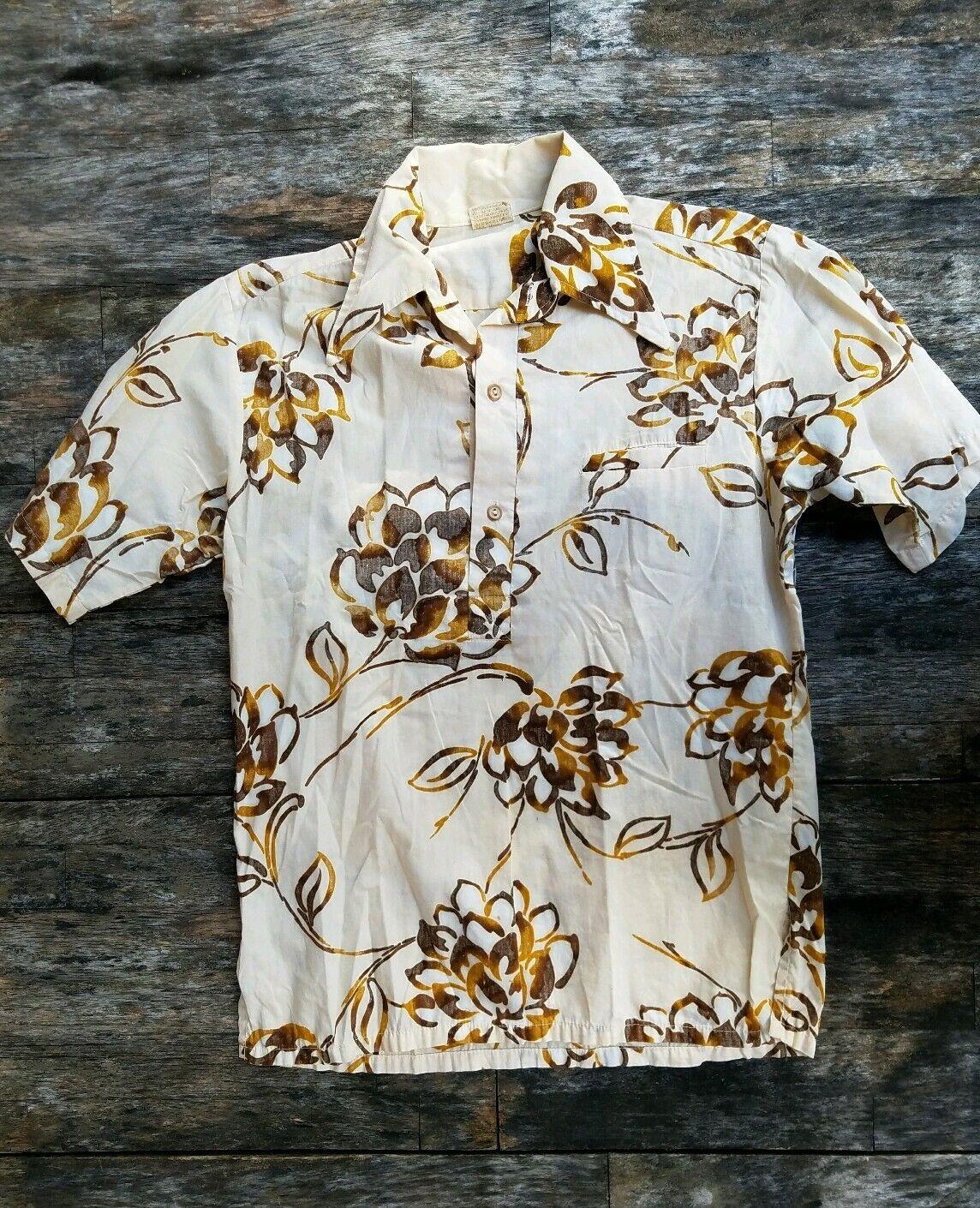 Go Barefoot medium [M] 100% cotton 1960's 70's Aloha Hawaiian shirt made in USA