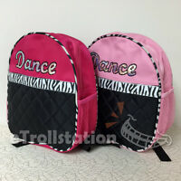 Lovely Girls Dance Backpack Bag Zebra Ribbon Sequin Black Quilted Fuchsia Pink