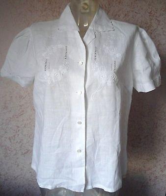 ***camicia Ricamata A Mano Tg.38 (48) Lino 100% Vintage